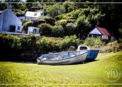 Des bateaux sur l'herbe
